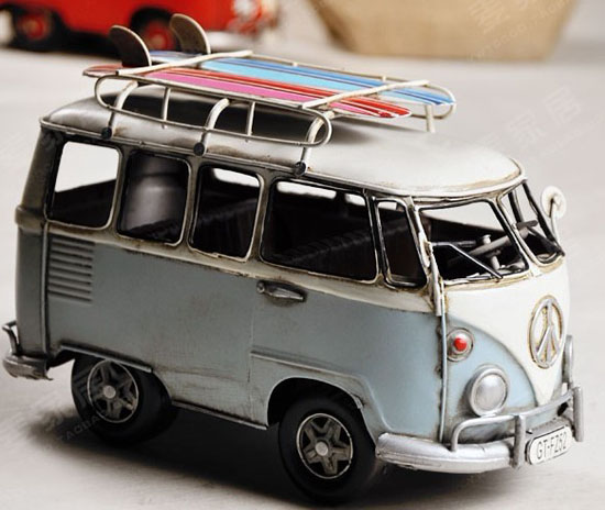 Medium Scale Tinplate Red / White Handmade Vintage VW Style Bus
