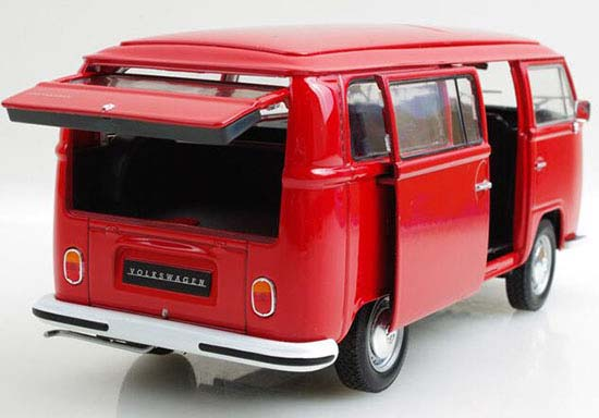 1:24 Scale WELLY Red / White 1972 VW Bus T2 Bus Model