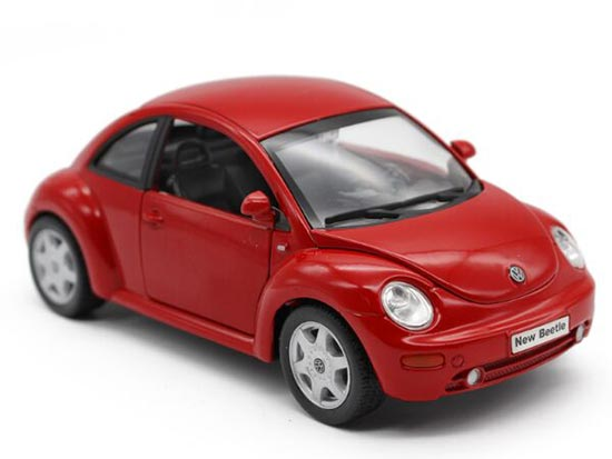 Red / Yellow 1:24 Scale Welly Diecast VW New Beetle Model