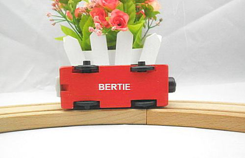 Mini Scale Red Kids Wooden Bus Toy