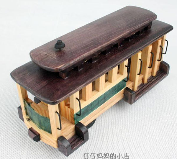 Detachable Wooden Bus Toy Model