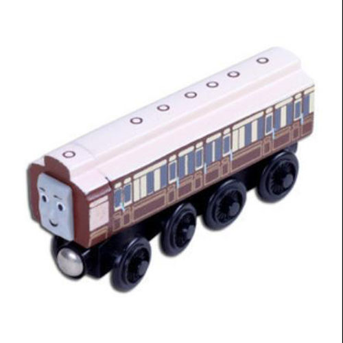 White Kids Wooden Bus Toy Old Slow Coach