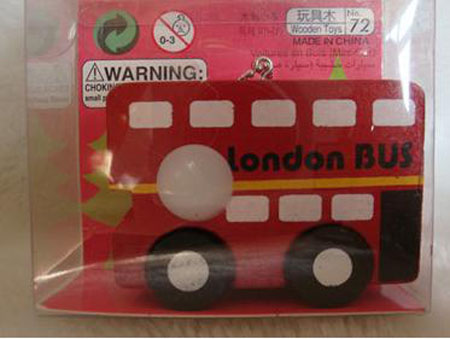 Mini Scale Red Wooden London Bus Toy