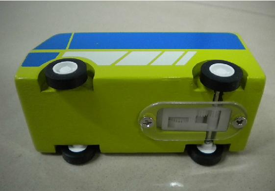 Pull-Back Function Mini Scale Blue-Green Wooden Bus Toy